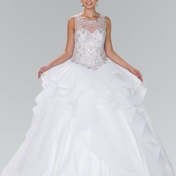 White Ball gown dress with ruffle gls 2378