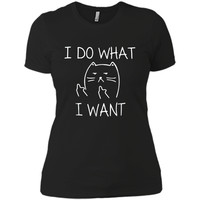 I Do What I Want Cat  - Cat - Cat Lovers Gift Next Level Ladies Boyfriend Tee