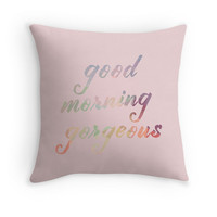 Dusty Pink Pillow Cover Good Morning Gorgeous Pastel Pink Rose Light Pillow Case Shabby Chic Saying Phrase Quote Words  Throw Pillow Cushion