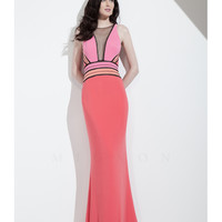 Pink Color Block Curve Hugging Gown