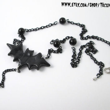 BAT NECKLACE goth deathrock batcave psychobilly horror victorian vampire