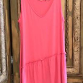 Soft Surroundings Pink Tank Ruffle Top Modal NWOT