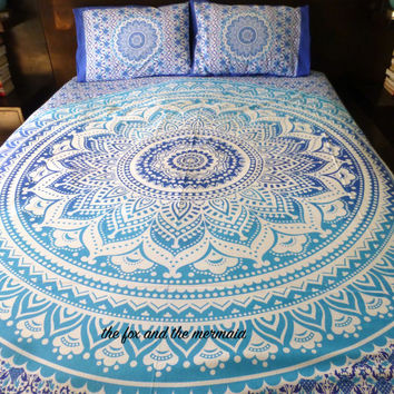 Ombre mandala quilt cover + 2 matching pillowcases,  Boho duvet cover and pillowcases, Roundie mandala doona cover+2 pillowcases, bohemian