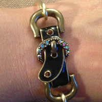 Brass Western Buckle Bangle Bracelet