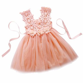 Toddler Baby Girls Dress Sleeveless Kawaii Princess Lace Tulle Flower Summer Dress Tutu Backless Party Dresses