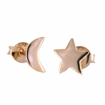 .925 Sterling Silver Moon and Star Rose Gold Ladies and Kids Stud Earrings