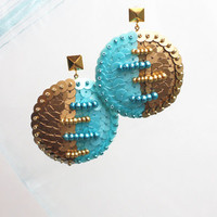 Blue Gold Stud Earrings - Hand embroidery on felt - Post Sequin Earrings