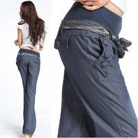 Best Quality Bloomers Wide Leg Pants Elastic Waist Bow Trousers for Women Loose Denim Pants Jeans with Belt = 1930236100