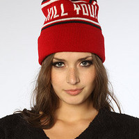 The Kill You Pom Pom Beanie in Red