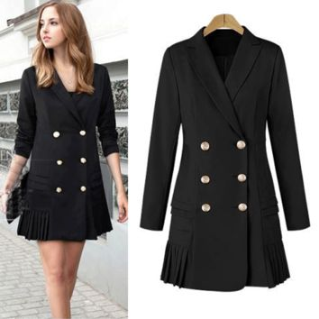 Plus Size Women's Fashion Long Sleeve Double Breasted Pleated Jacket [196476764186]