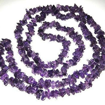 Natural Amethyst Bead Necklace Endless Strand Rich Purple Color 35 in