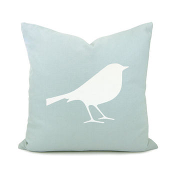 Bird pillow case - White bird print on aquamarine cotton fabric decorative pillow cover - 16x16 throw pillow cover