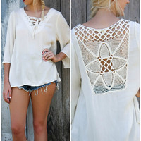 Take Me There Cream Bell Sleeve Lace Up Top With Crochet Back