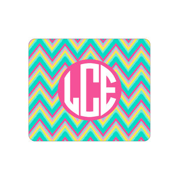 Hot Pink Multi Chevron Mouse Pad