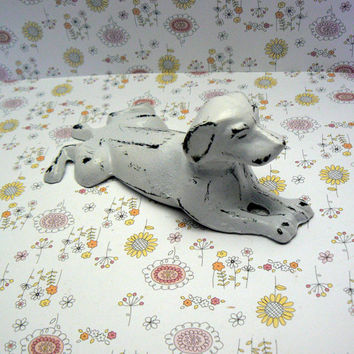 Dog Door Stop Cast Iron Shabby Chic White White Distressed  Doorstop Prop Animal Pet Lover Canine