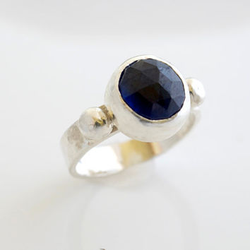 Sapphire Ring, Silver Ring, Bezel Set Ring