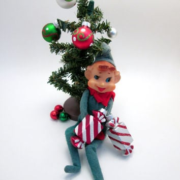 Vintage Elf on a Shelf - Green and Red Elf - Elf Prank Mischief - Christmas Holiday Fun - cottage chic decoration (g1)