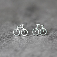 Tiny Bicycle Earrings, Sterling Silver Bicycle Stud Earrings, tiny Earrings, cute studs earrings, Bicycle Jewelry, gifts for her