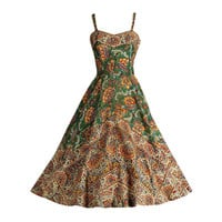 Vintage 1950's Del Mar Miami Cotton Ethnic Print Dress
