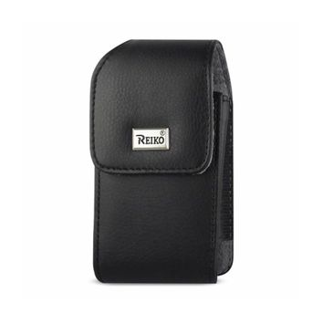 Reiko VERTICAL LEATHER POUCH TREO 650 WITH MEGNETIC AND METAL BELT CLIP IN BLACK (4.4X2.3X0.9 INCHES)