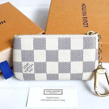 LV Tide brand classic old fashion fashion zipper key case White check