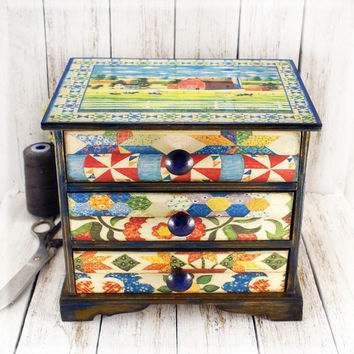 Ohio Star Quilt Block Large Wooden Mini chest drawers, sewing box, provincial style /Vintage look decoupage