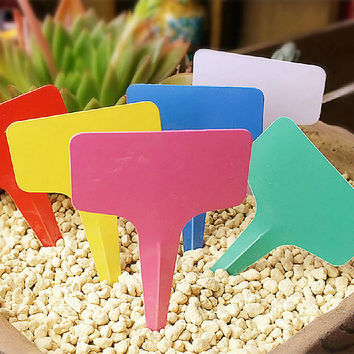 5pcs Colorful Plastic Plant Label Flower Tags Markers Nursery Garden Labels Stick 60x100mm Gardening Signs Card Home Decor DIY