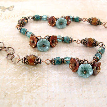 Teal and Copper Flower Bracelet - Dainty Beaded Dangle Bracelet Antique Copper Nature Jewelry Vintage Style Rustic Bridesmaids Jewelry Gifts