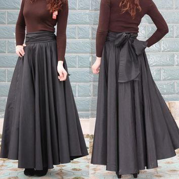 Women's Skirt Long Plus Size 7XL Cotton Black Solid A-line Pleated  High Waist Bow Belt Woman Maxi Skirt