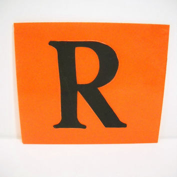 Vintage Marquee Letter Sign Orange Plastic with Black R Industrial Typography Salvaged Parts