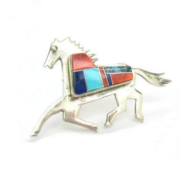 Horse Jewelry, Zuni Brooch. Native American Jewelry. Turquoise Lapis Spiny Oyster Inlay. Vintage Southwestern Sterling Silver Jewelry. JE.