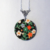 Black and colorful floral washi pendant, Chiyogami, resin, Japan inspired jewelry, silver plated chain, round birch wood, flowers, blossoms