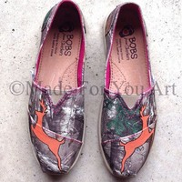 Hand-Painted Camo realtree deer Bob Shoes- Inspired by Browning