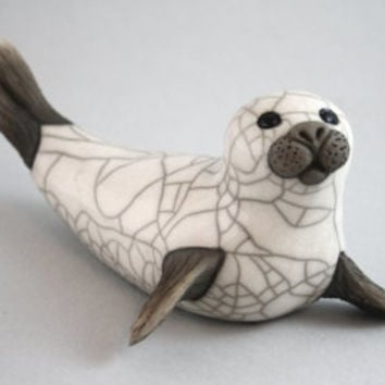 Large Seal on Flippers ceramic raku fired handmade sculpture