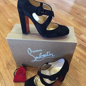 New Christian Louboutin Black Suede Miss Ellen Pumps Crisscross Shoes 36 1/2 6.5