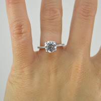 Brilliant Solitaire Ring - Round Engagement Ring - Silver Promise Ring - Thin Band Ring - Silver Micro Pave Ring - CZ Engagement Ring