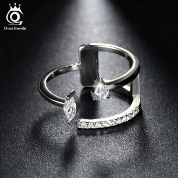 Finger Adjustable Ring with Brilliant AAA Austrian CZ