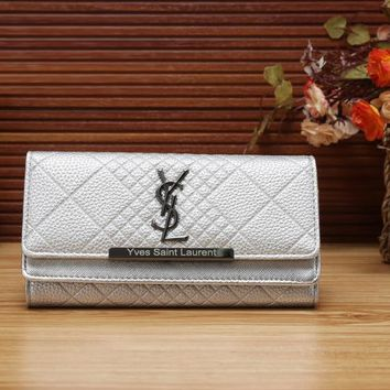 YSL Yves Saint Laurent Women Fashion Leather Shopping Wallet Purse-7