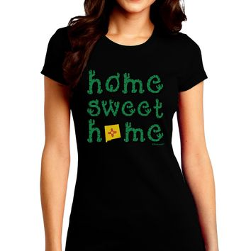 Home Sweet Home - New Mexico - Cactus and State Flag Juniors Crew Dark T-Shirt by TooLoud