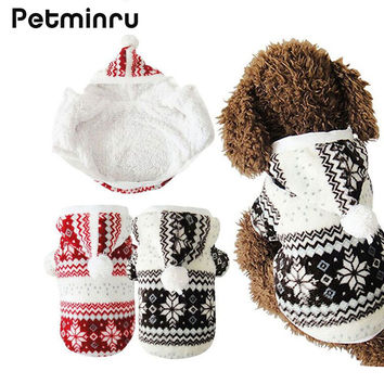 Petminru Hot Selling Soft Winter Warm Pet Clothes Cozy Snowflake Dog Costume Clothing Jacket Teddy Hoodie Coat