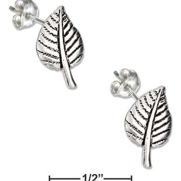 Sterling Silver Mini Aspen Leaf Earrings On Stainless Steel Posts And Nuts