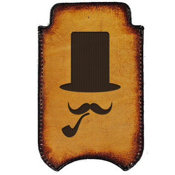 iPhone Leather Sleeve - Top Hat & Pipe