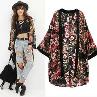 2015 New Women Printed Half Sleeve Chiffon Kimono Cardigan Coat Tops Blouse loose jacket = 5709643137