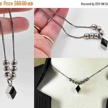 ON SALE Vintage Taxco 925 Sterling Silver Black Onyx Pendant Necklace, Silver Beads, Italy Chain, Diamond Shape, Mexico, So Nice! #b696