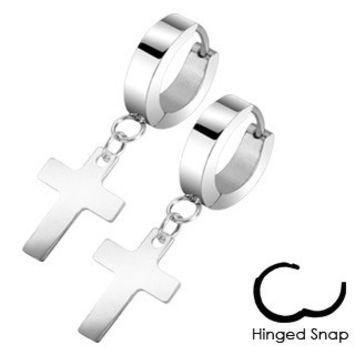 Faithful - Latin Cross Design Stainless Steel Hinged Hoop Earrings