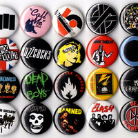 Punk Rock starter kit button set of 20 pinbacks badges 1""
