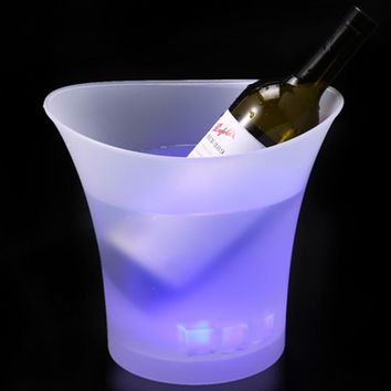 5L Colorful Plastic LED Ice Bucket Color Changing Bars Nightclubs LED Light Up Champagne Beer Bucket Bars Night Party