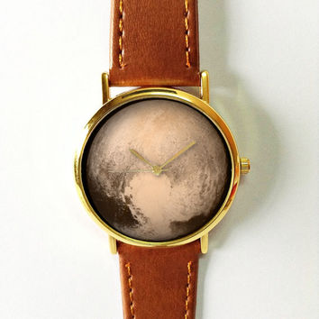 Pluto Watch, Planets, Outer Space, Solar Sytem, Mens Watch, Watches for Men, Leather Watch, Wrist Watch, Galaxy, Gift for Men, Space Jewelry