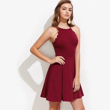 Women's Scallop Edge Box Pleated Burgundy Sleeveless Dress