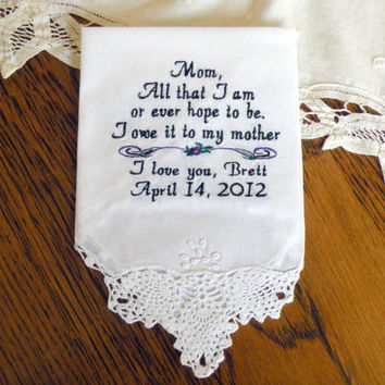 Mom from Son Wedding Gift, Gift for Mom on your Wedding Day Personalized Wedding Hanky Mother of the Groom By Canyon Embroidery